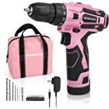 "WORKPRO Pink Cordless Drill Driver Set, 12V Electric Screwdriver Driver Tool Kit for Women, 3/8"" Keyless Chuck, Charger and S"