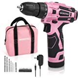 WORKPRO 12V Pink Cordless Drill Driver Set, 18+1 Torque Setting, Electric Screwdriver Driver Tool Kit for Women, 3/8…