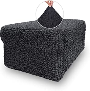 Ottoman Cover - Ottoman Stool Cover - Ottoman Pouf Slipcover - Soft Polyester Fabric Slipcover - 1-Piece Form Fit Stretch Stylish Furniture Protector - Mille Righe Collection - Grey (Ottoman)