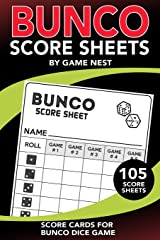 "Bunco Score Sheets: 105 Score Keeping Pads | Bunco Dice Game Kit Book (Small 6"" x 9"" Score Cards) Paperback"