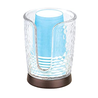 InterDesign Paper and Plastic Bathroom Vanity and Countertops-Clear/Bronze Rain Disposable Cup Dispenser