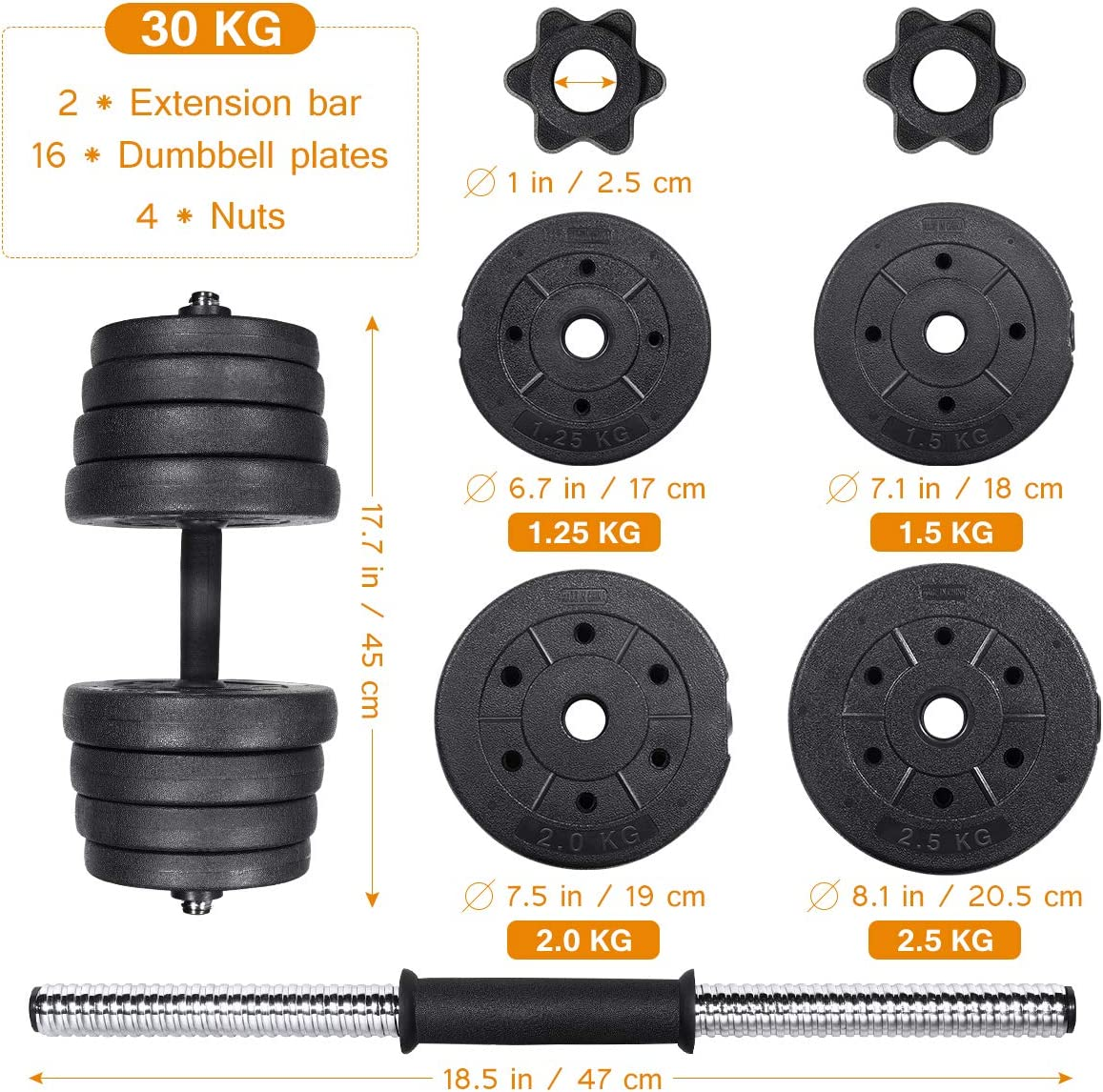 66 LB Weights Dumbbells Set, Adjustable Dumbbells Weights Barbell Set (30KG)