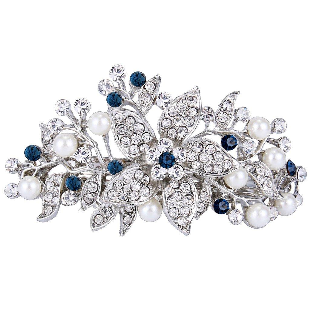 EVER FAITH Austrian Crystal Bridal Hibiscus Cream Simulated Pearl Hair Clip Barrette Blue Silver-Tone