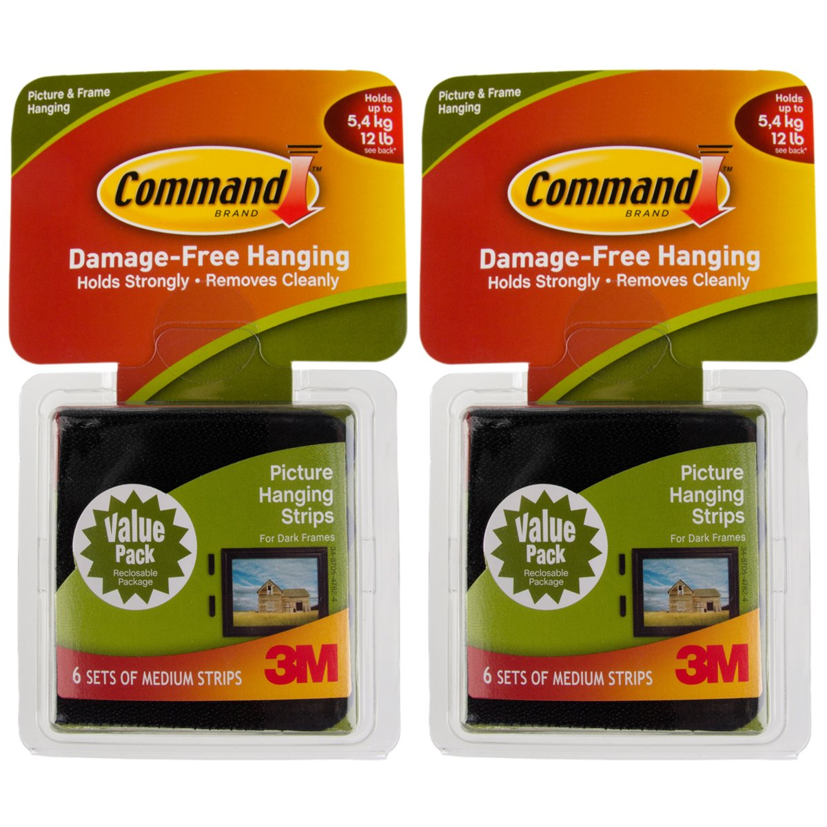 Command 3M 12ct Pack Picture & Frame Hanging Strip Sets Medium Size Black Damage-Free