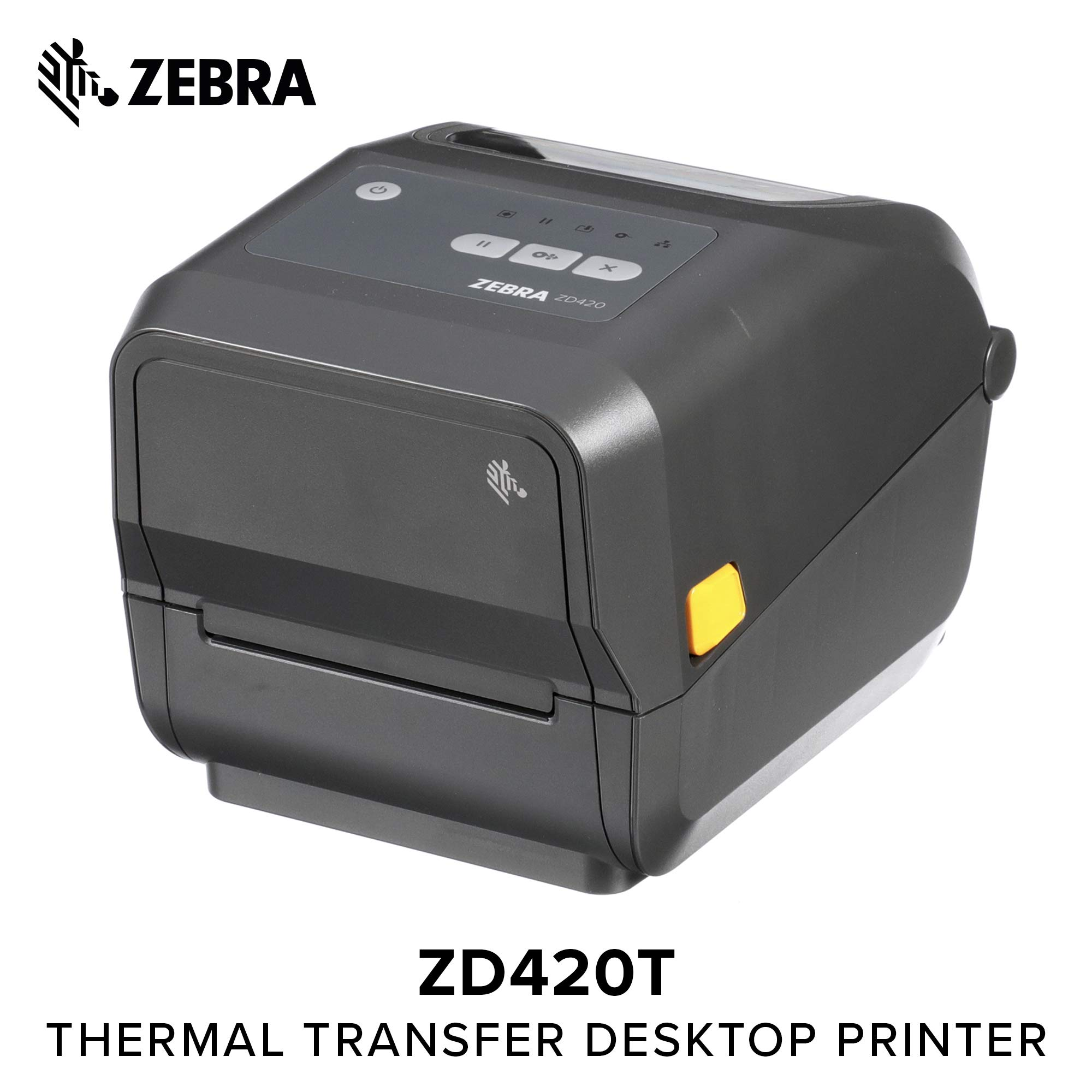 Zebra - ZD420t Thermal Transfer Desktop Printer for Labels and Barcodes - Print Width 4 in - 300 dpi - Interface: USB - ZD42043-T01000EZ