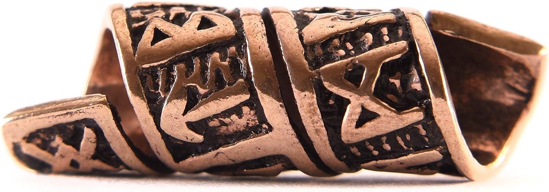Abalorio de barba vikingo / mostacilla para rastas de bronce con runas y motivo en espiral