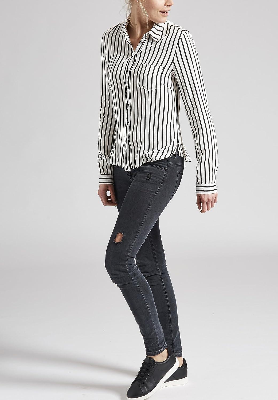 KHUJO Damen Bluse Tunika CONNY Shirt Streifen weiß schwarz langarm   Amazon.de  Bekleidung 71016f70f8