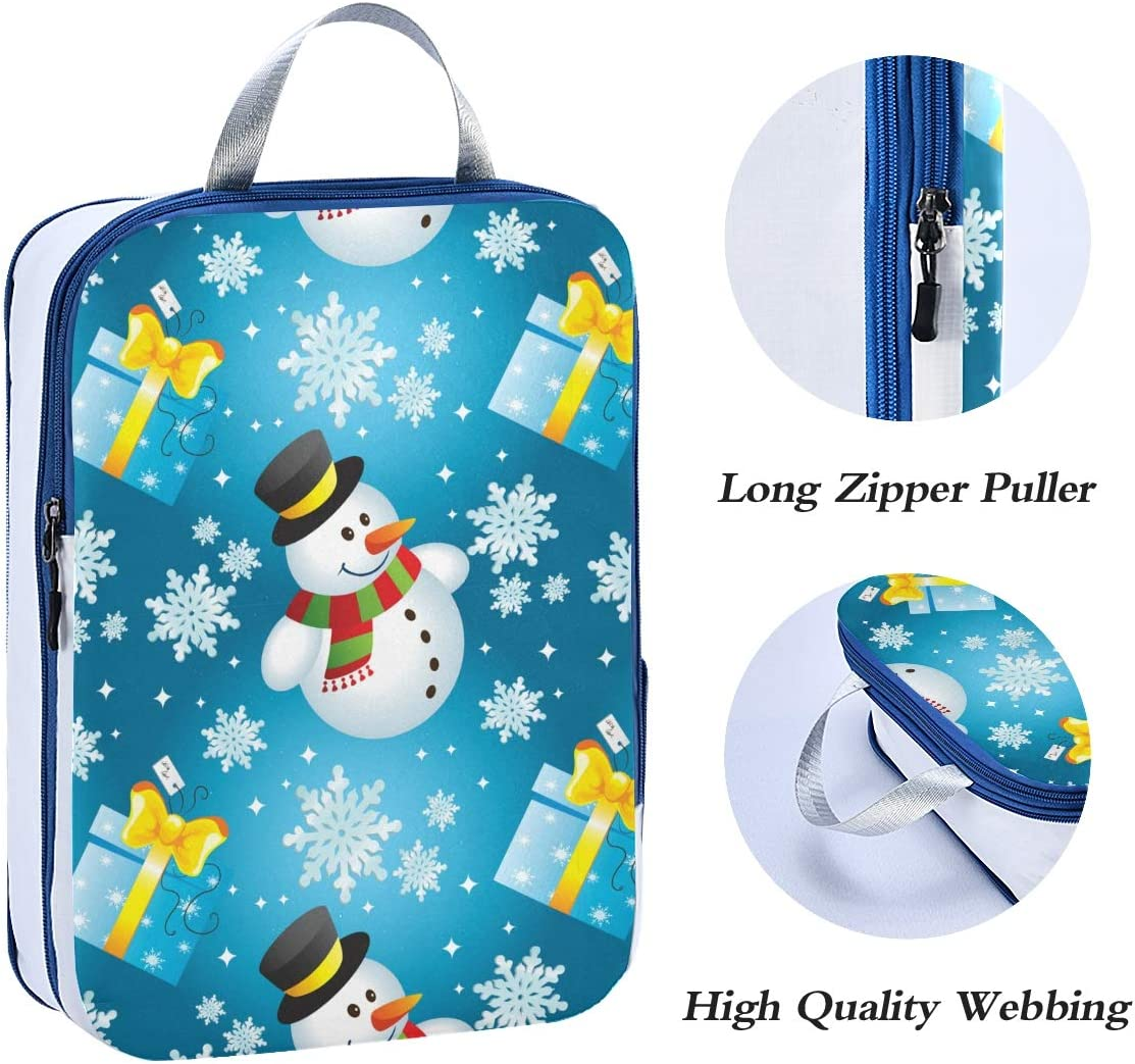 Snowman With Gift 3 Set Packing Cubes,2 Various Sizes Travel Luggage Packing Organizers s