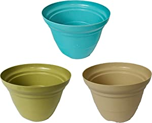 Set of 3 Assorted Round Woven Bamboo Planters! Perfect for Indoor and Outdoor Gardening! Measures -7inx5in