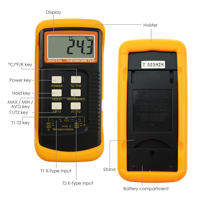 /° C Thermom/ètre de type K avec capteur de thermocouple 1300 /° C /° F et K
