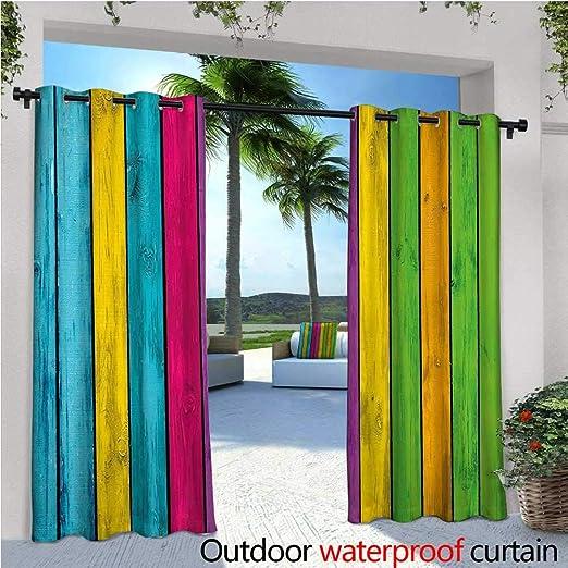CobeDecor Cortinas coloridas para patio, diseño de cristal tintado en colores arcoiris arco iris, efecto arco