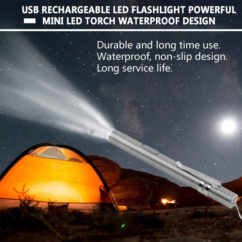 Creativo USB recargable linterna LED Potente Mini LED antorcha Impermeable Pluma de dise/ño con clip de metal