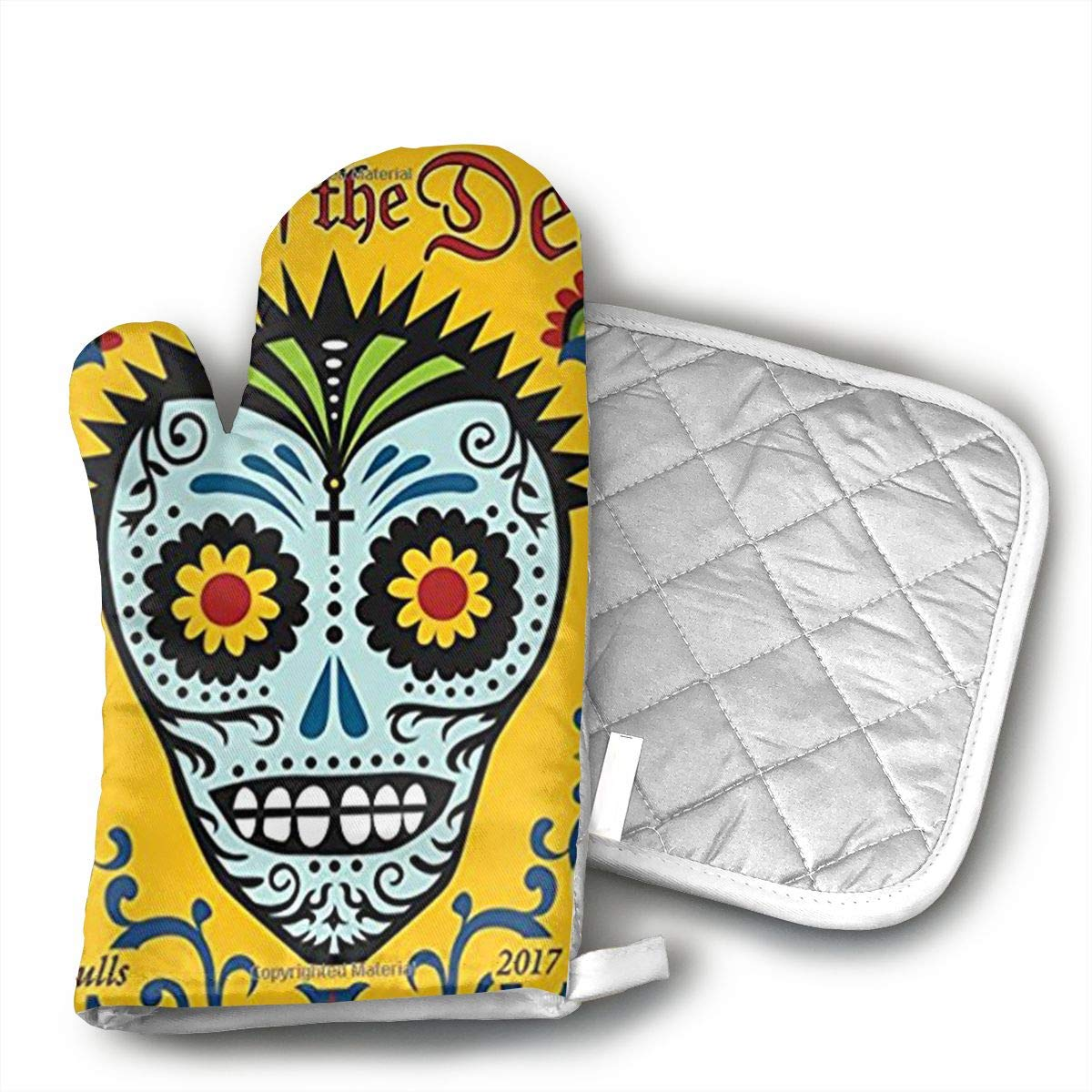 GUYDHL Unisex Oven Mitt and Pot Holder for Day of The Dead 2017 Wall Calendar Sugar Skulls - 2 Pair