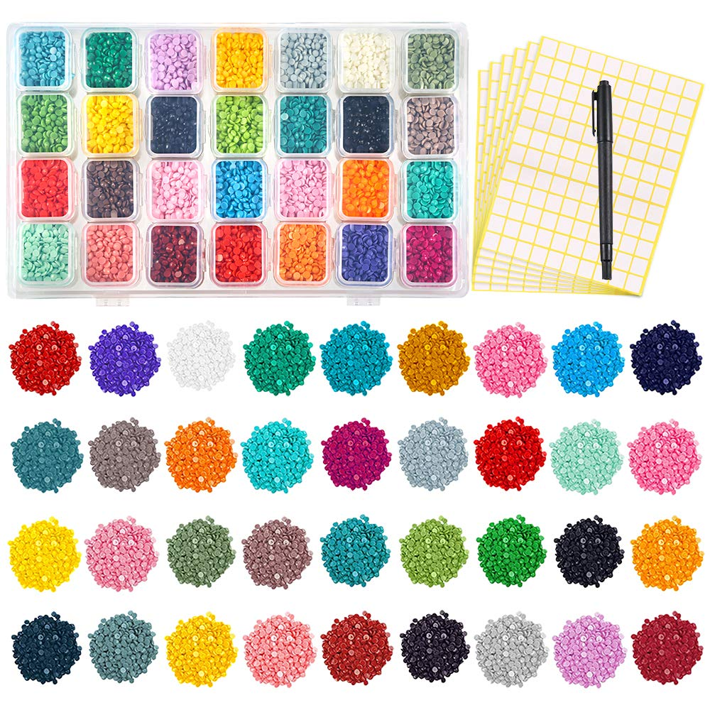 PP OPOUNT 36 Colors Diamond Painting Replacement Round Diamonds with Diamond Storage Boxes, 1 Piece Marker Pen and 720 Pieces Marker Label for Missing Drills of Diamond Cross Stitch OP0186