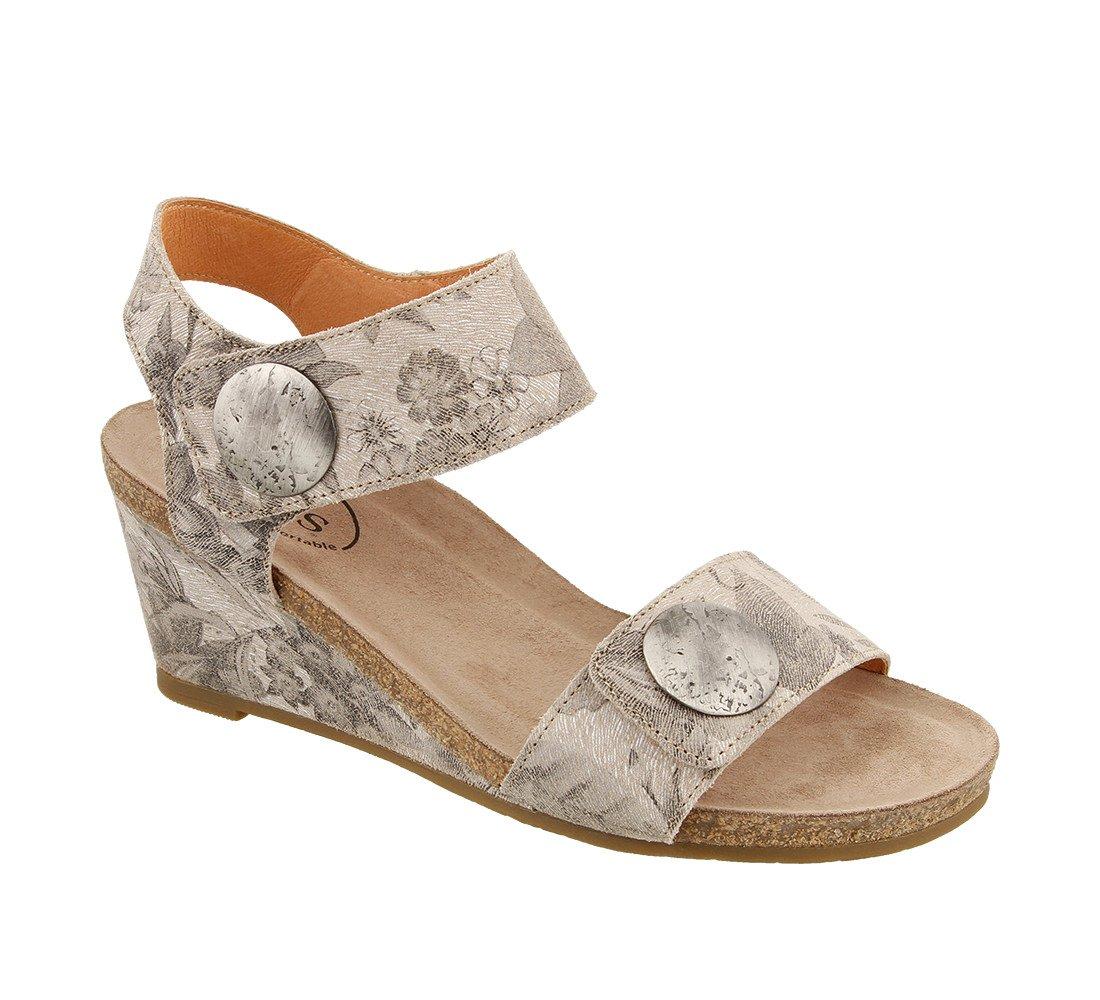 Taos Footwear Women's Carousel 2 Taupe Embossed Suede Sandal 39 M EU / 8-8.5 B(M) US B073MLBNRP 41 M EU /10-10.5 B(M) US|Stone Floral