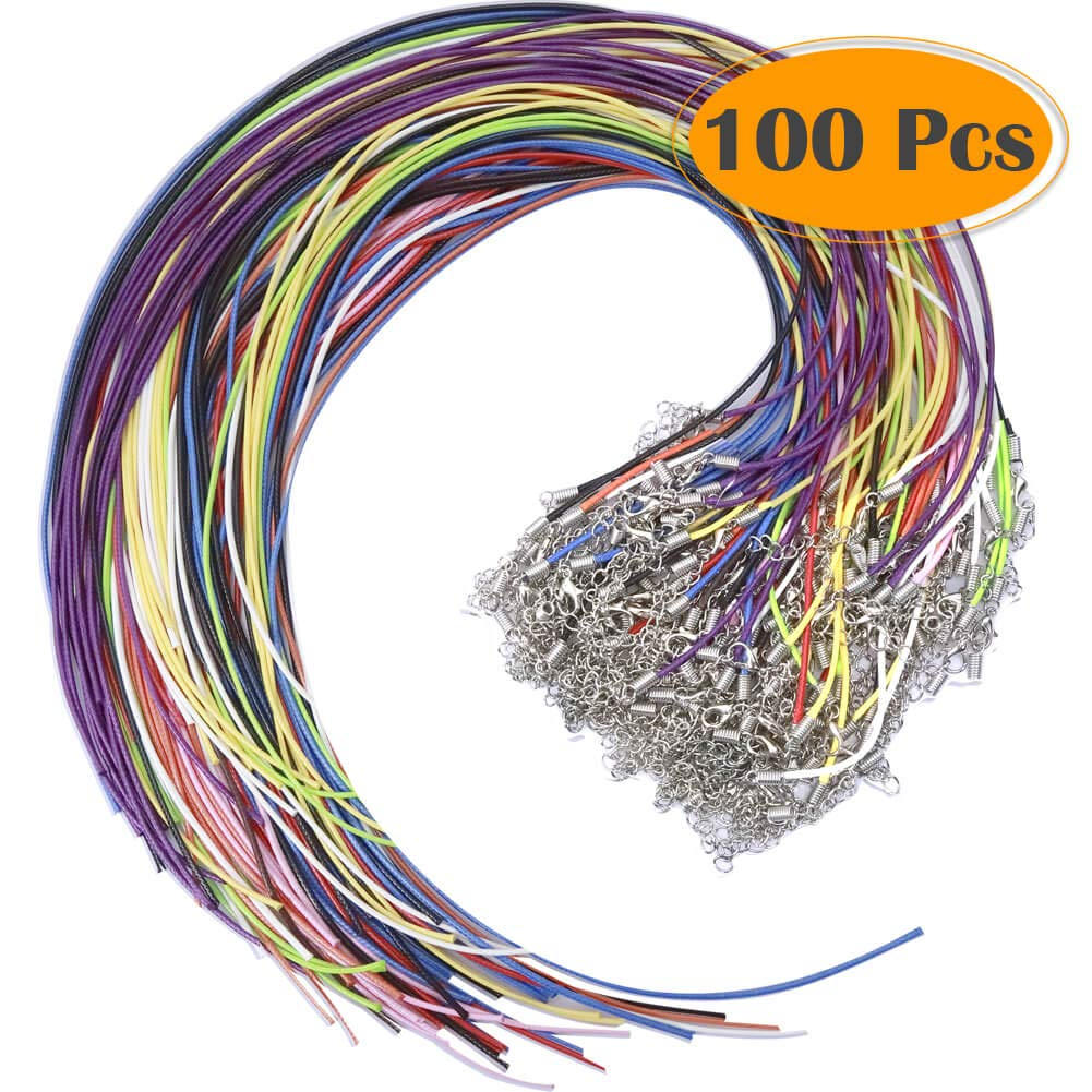 Selizo 100Pcs Satin Silk Necklace Cord with Lobster Clasp and Extension Chain
