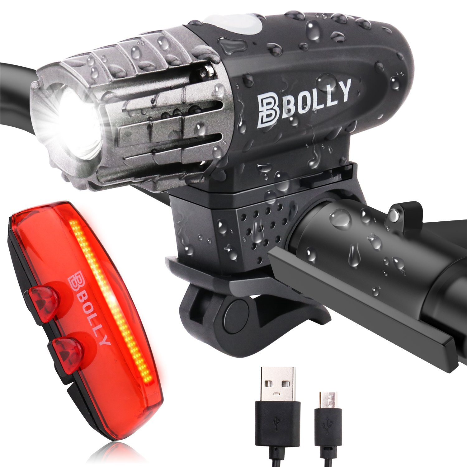 Bolly USB Rechargeable Bike Light Set, 340 Lumens Super Bright Waterproof LED Bicycle Headlight and Taillight Front and Rear Light for Cycling Safety