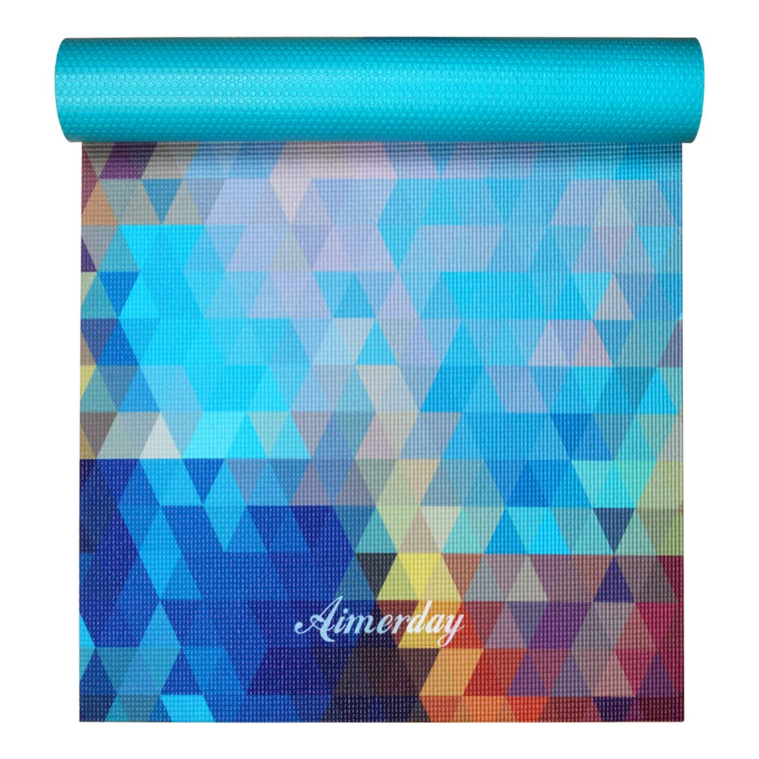 AIMERDAY Yoga Mat Premium Print Non Slip Eco Friendly Pilates Mat 72 inch 1/4 inch Thick Fitness Exercise Mat, Home Gym Workout Mat with Carrying Strap & Bag for Hot Yoga Class, Floor Exercises 6mm