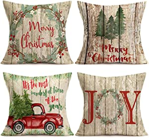 Asamour Xmas Vintage Wood Home Decor Pillowcase Christmas Letter with Beautiful Wreath Decorative Throw Pillow Case Cushion Cover 18''x18'' Set of 4,Red Truck,Christmas Tree (4 Pack Vintage Wood Xmas)