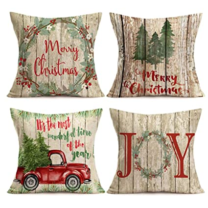 Asamour Xmas Vintage Wood Home Decor Pillowcase Christmas Letter with Beautiful Wreath Decorative Throw Pillow Case Cushion Cover 18''x18'' Set of 4,Red Truck,Christmas Tree (4 Pack Vintage Wood Xmas) best christmas throw pillows