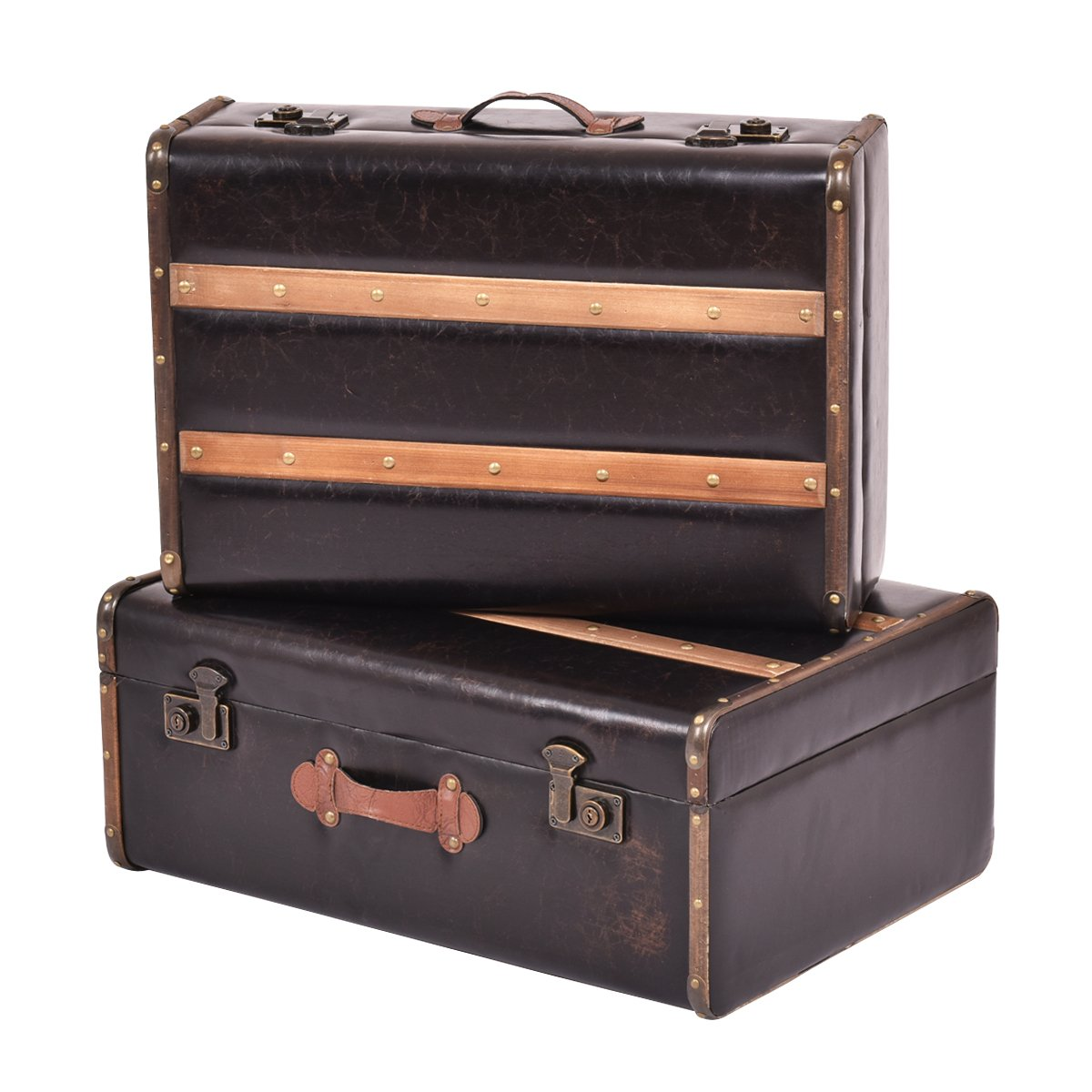 Goplus Set of 2 Vintage Suitcase, Old Style Suitcase, Retro Antique Luggage, Train Case, Wooden Leather Suitcase Storage Boxes