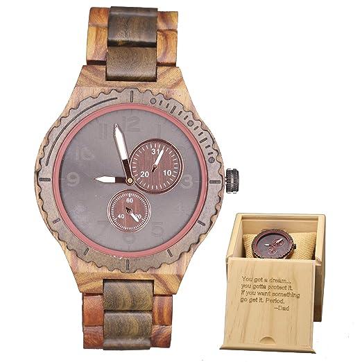 Relojes de Madera Grabados para Hombres de Madera Reloj analógico de Cuarzo Fecha Retro Hecho a Mano Ligero Reloj de Pulsera de Madera: Amazon.es: Relojes