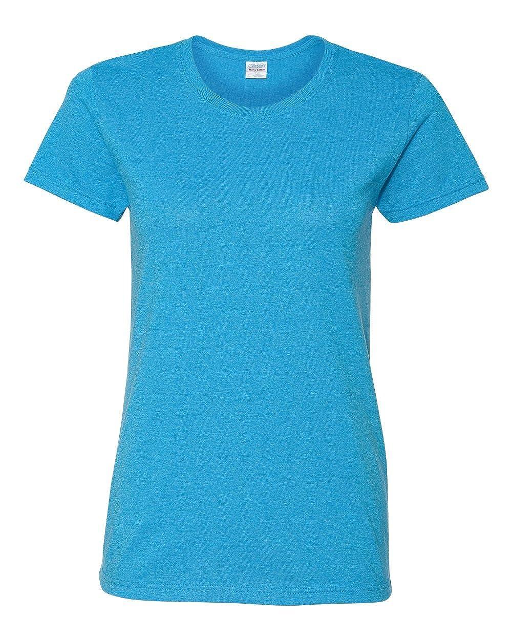 Heather Sapphire Gildan Womens 5.3 oz. Heavy Cotton Missy Fit TShirt G500L (Pack of 12)