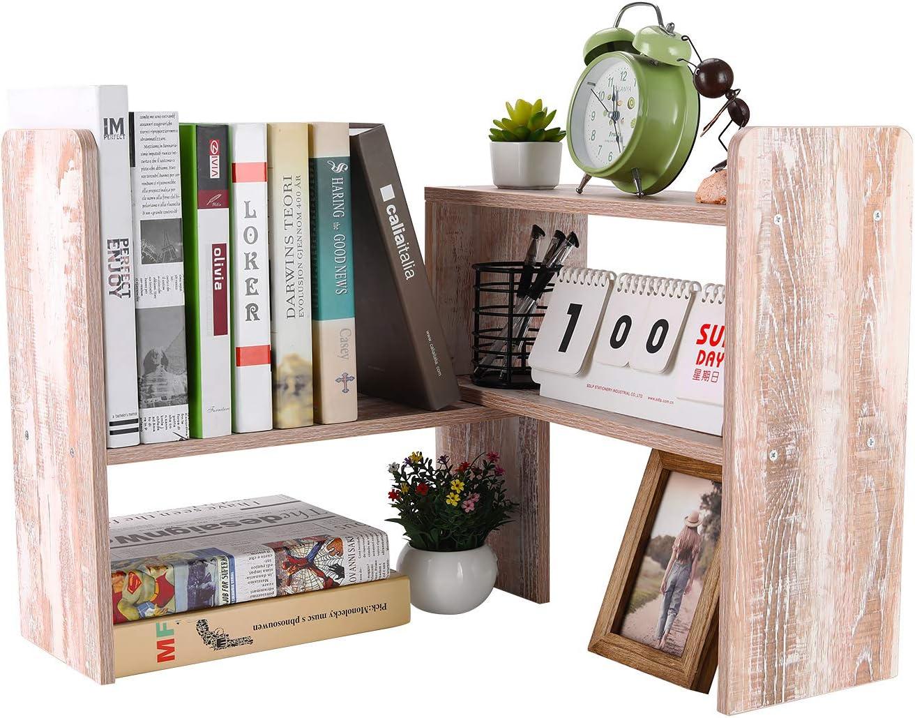 PAG Desktop Bookshelf Adjustable Countertop Bookcase Office Supplies Wood Desk Organizer Accessories Display Rack, Retro White