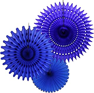 product image for Set of 3 Tissue Paper Fans, Dark Blue (13-21 Inch)