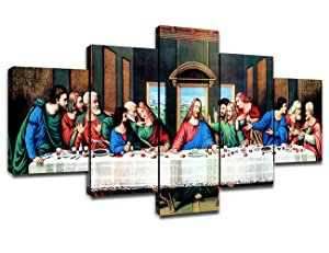 Canvas Print Wall Art The Last Supper Framed Picture for Bedroom Christ Jesus 5 Piece Painting Religious Artwork Christian Wall Decor for Living Room Easter Gift Ready to Hang(60''Wx32''H)