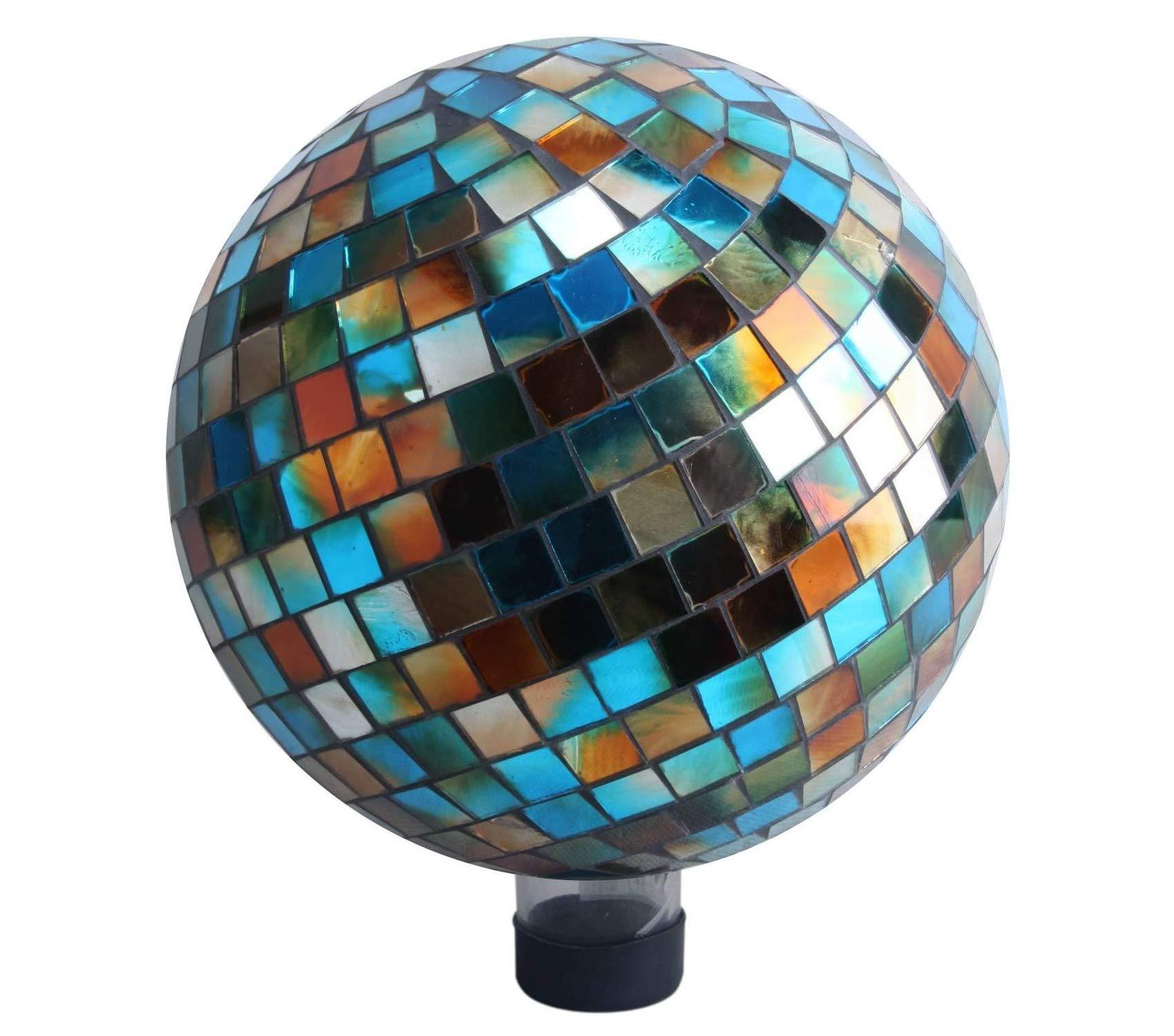 Outdoor Garden Backyard Décor Mosaic Gazing Ball, 10-Inch, Blue/Amber