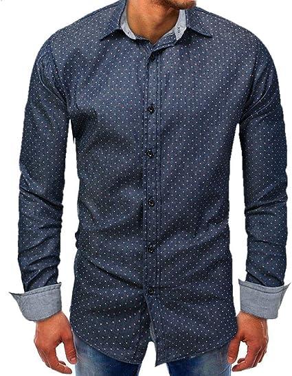 HhGold Azul Marino Camisas para Hombre Top Slim Fit Casual ...