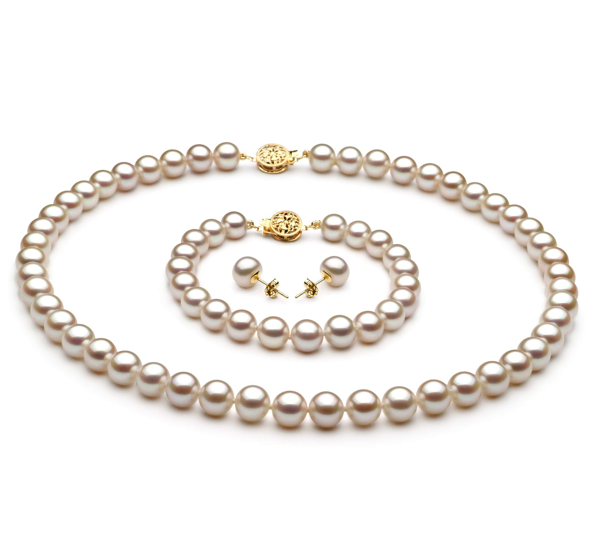 White 7-8mm AAA Quality Freshwater Gold filled Cultured Pearl Set For Women-18 in Princess length