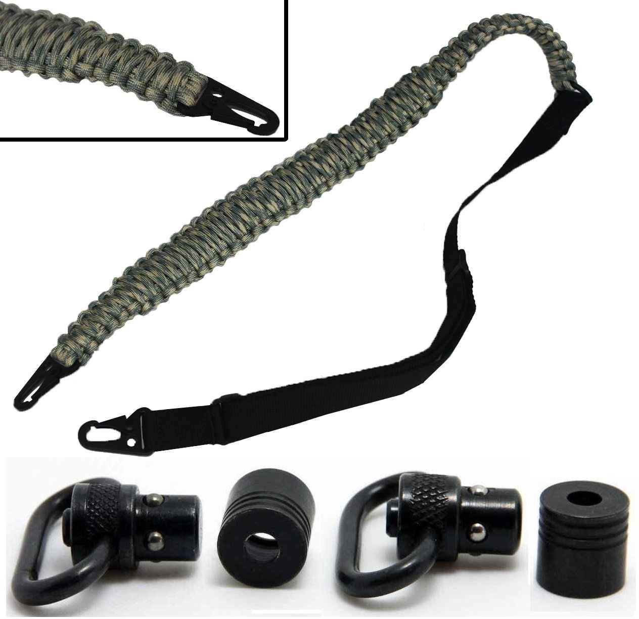 Ultimate Arms Gear Two QD 1'' Slot Loop Push Swivel with Bases + 550 lb Paracord Survial Sling, ACU Army Digital Camo 56' ft Cord with Hook Ends for AR15, AR-15, M4, M16, .223 5.56 .308