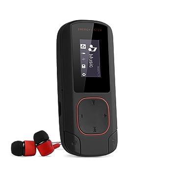 Energy Sistem MP3 Clip Bluetooth (Reproductor MP3 con Pantalla, Bluetooth, 8GB, Clip de Enganche, Radio FM y Lector de Tarjeta microSD) - Rojo Coral