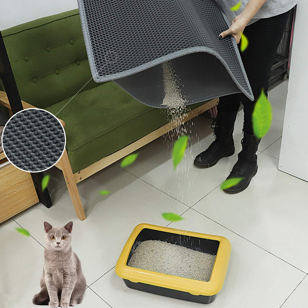 Awe Inspiring Waretary Professional Cat Litter Mat Xl Jumbo 30 X 24 Honeycomb Double Layer Waterproof Urine Proof Trapping Mat For Litter Boxes Large Size Easy Uwap Interior Chair Design Uwaporg