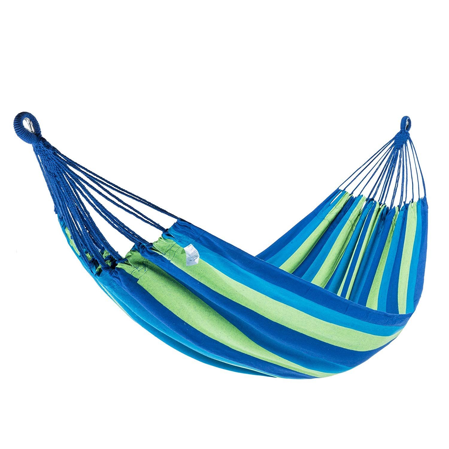 KingCamp Hammock Double and Single 1-2 Person Cotton Canvas Portable Large Parachute Swing Bed Tree Hanging Colorful Stripes for Outdoor Camping Patio Yard Beach