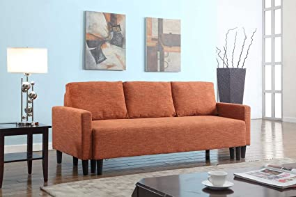 Superieur Large Rust Orange Cloth Modern Contemporary Upholstered Quality Sleeper Sofa  Futon