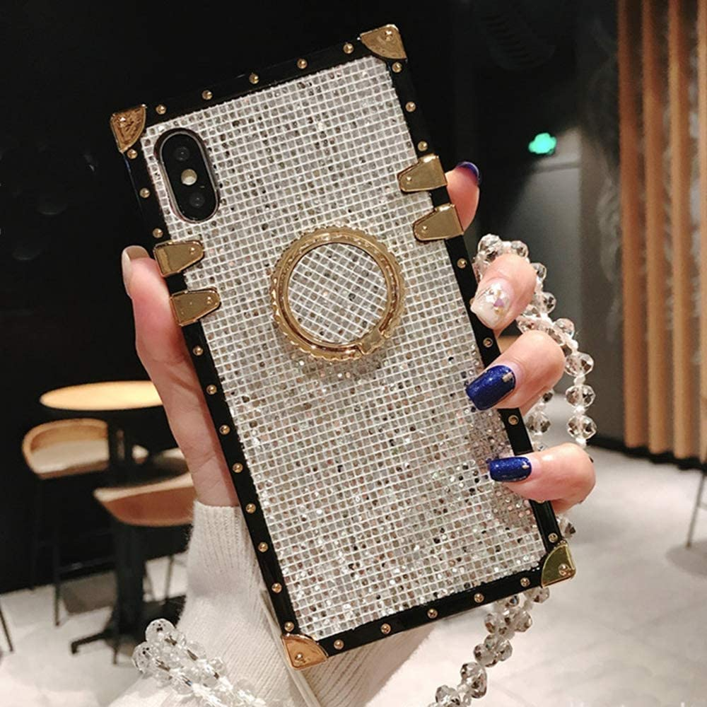 Compatible for iPhone 7 Plus /8 Plus Case,Babemall Elegant Premium Bling Square Protective with Shock Absorption Metal Decoration Corner Back Case with Crystal Strap (Silver)