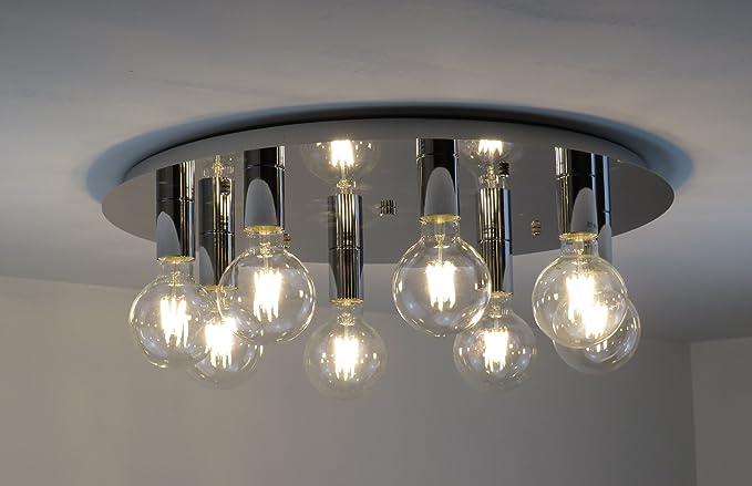 Plafoniera lampadario design moderno cromo illuminazione interni