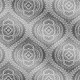 Kenneth James 2618-21312 Zaida Paisley Damask Wallpaper, Silver