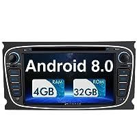 Pumpkin Android 8.0 Autoradio Radio für Ford Focus Mondeo mit Navi Unterstützt Bluetooth DAB+ WLAN 4G USB CD DVD Android Auto MicroSD Aux 2 Din 7 Zoll Bildschirm Schwarz