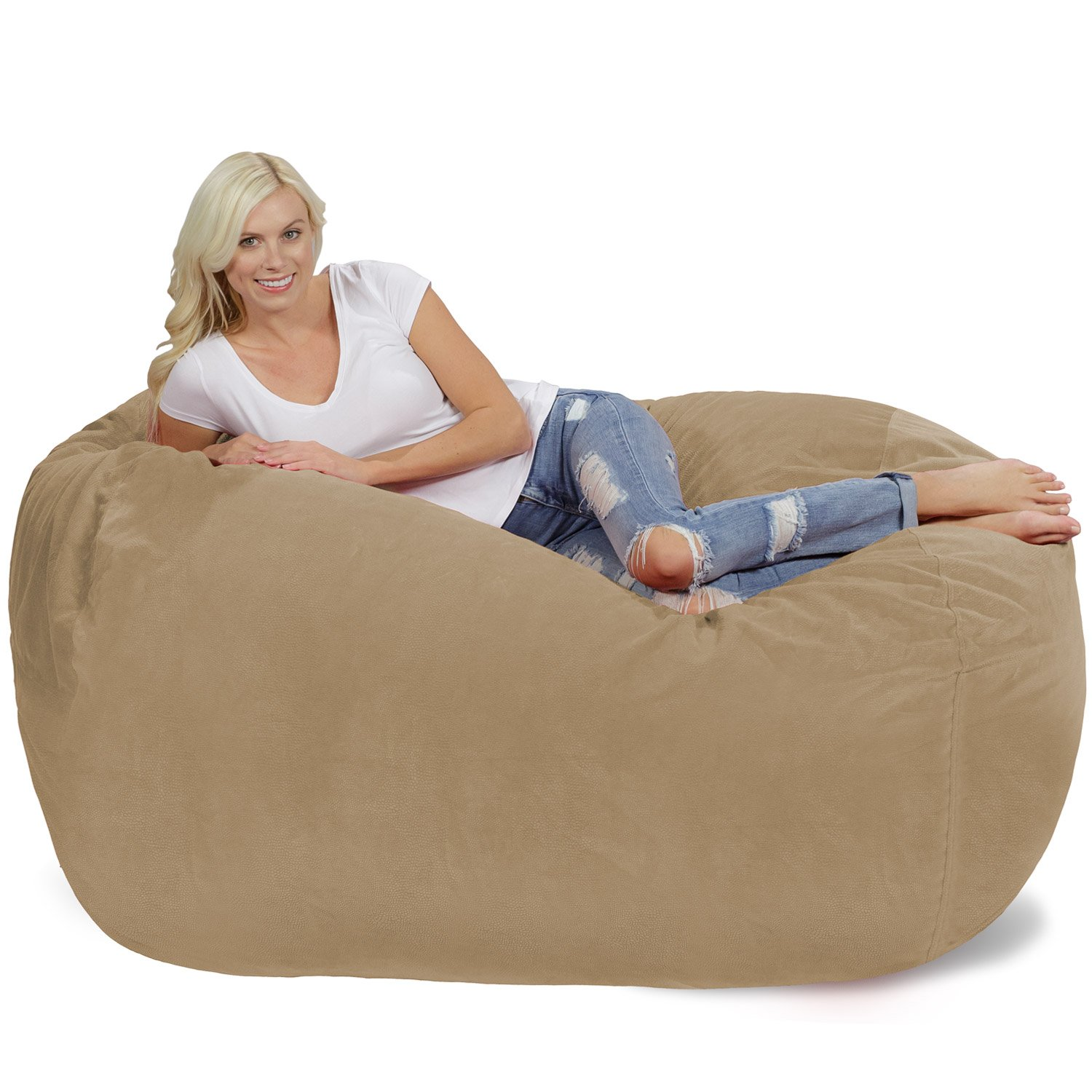 Black Chill Sack Bean Bag Chair Big Sofa with Soft Micro Fiber Cover Huge 6 Memory Foam Furniture Bag and Large Lounger