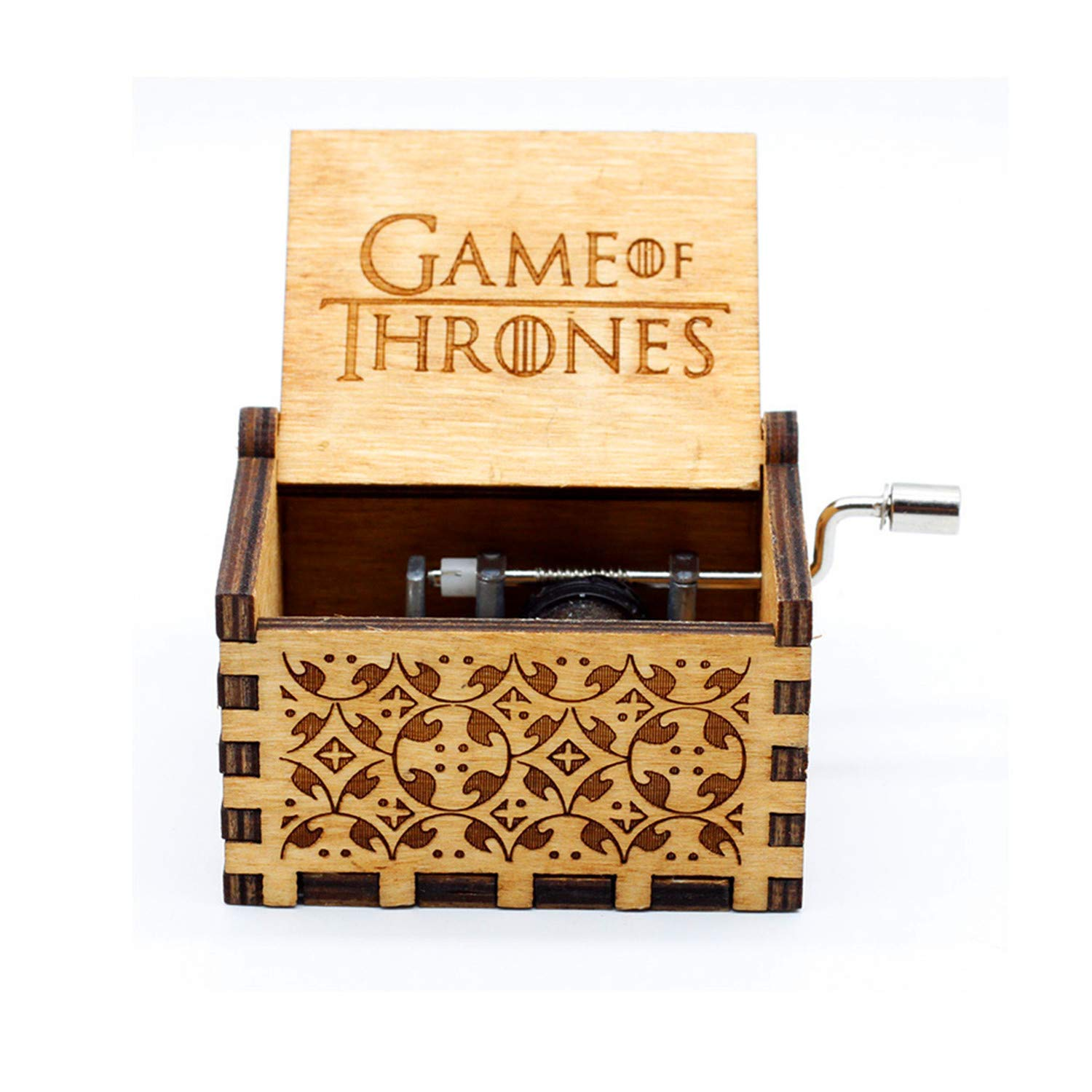 Hand Crank Wood Music Box,Game of Thrones Tune Handmade Laser Engraved Wooden Musical Box For Christmas/Birthday/Valentine's day (Game of Thrones)