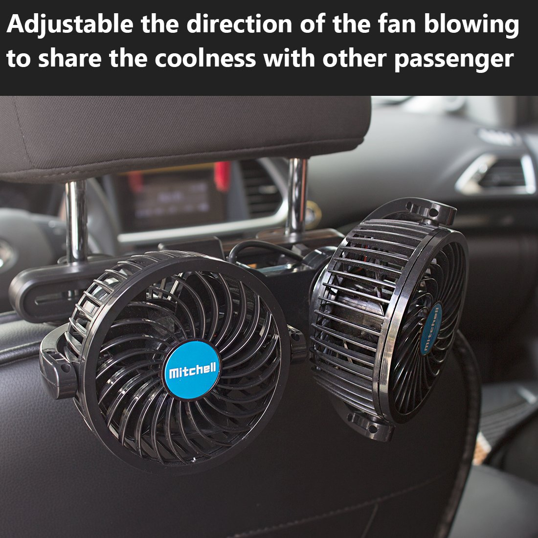 Poraxy Car Fans12v Electric Auto Cooling Fan Headrest 360 Degree Wiring Dual Fans W Thermal Switch And In Dash Rotatable 2 Speed Head Rear Seat Air For Sedan Suv Rv Boat P006 Ventilation