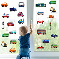 200 Pieces Trucks Cars Window Clings Removable Construction Vehicles Window Clings Reusable Static Window Decal Stickers…