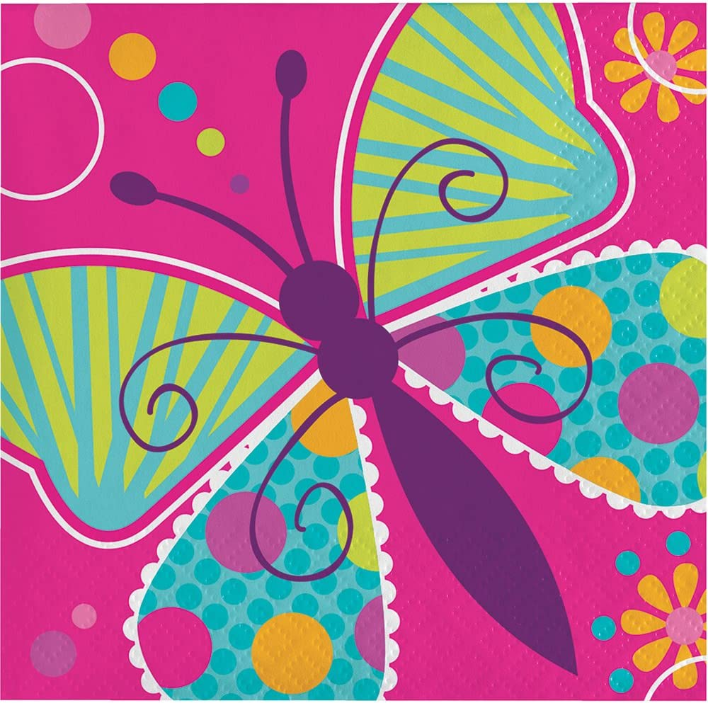 Creative Converting 192-Count Beverage Paper Napkins, Butterfly Sparkle Birthday Party