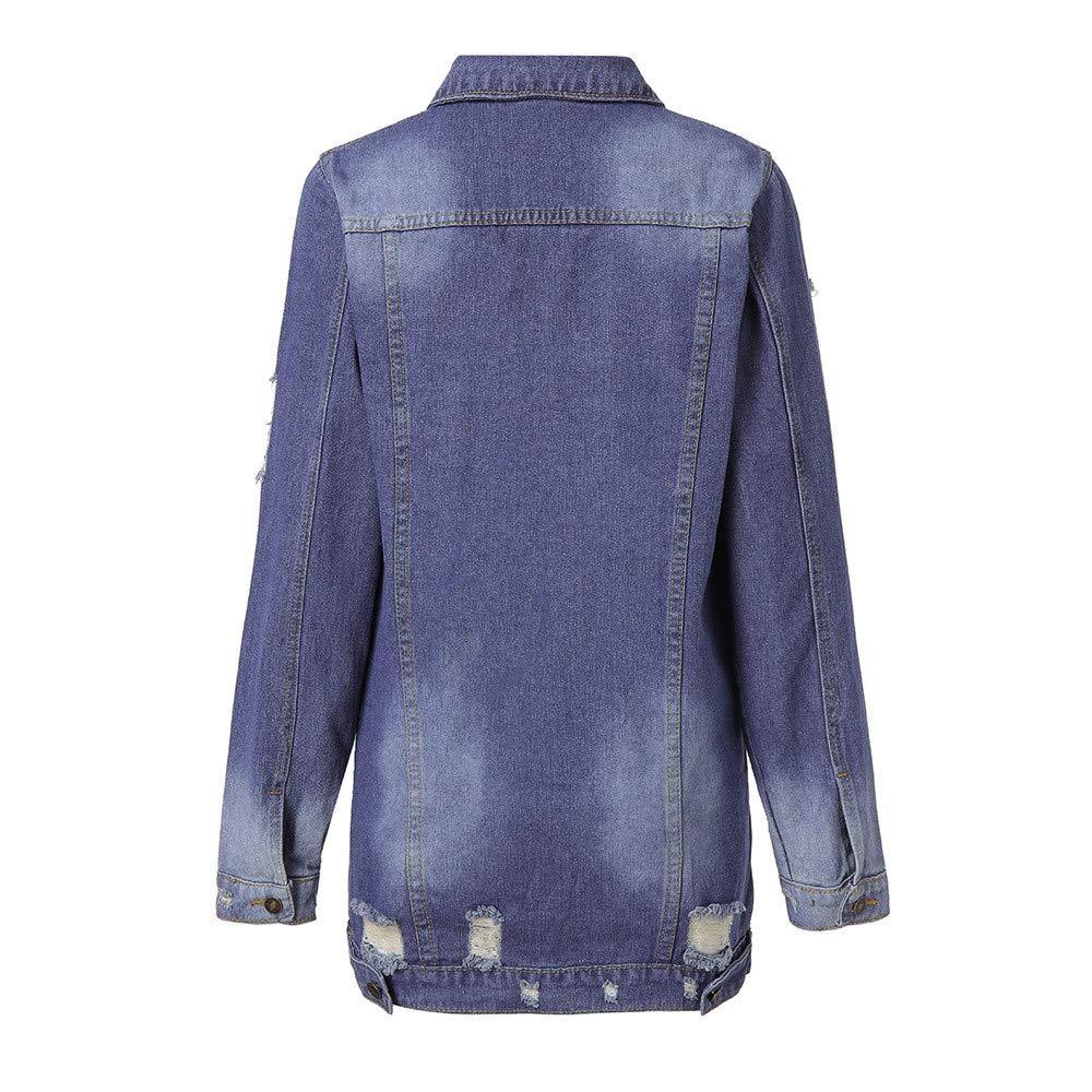 CLOOM Lange Loch Jeansjacke mit Modischer Waschung Damen Mantel Jacke Damen  Mode Mantel Frühling Herbst Winter Stilvoll Oversize Cardigan Windbreaker  Jacke ... 51950c01f2