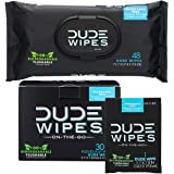 DUDE Wipes Flushable Wet Wipes (48 Count Dispenser and 30 Single Wipes), Individually Wrapped & Dispenser, Natural Unscented with Vitamin-E & Aloe, 100% Biodegradable