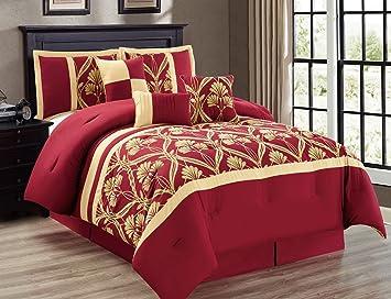 Charming 7 Piece Perris Burgundy/Gold Comforter Set Queen